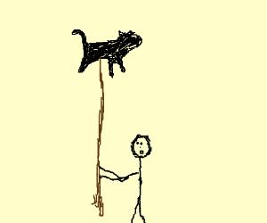 Cat on a stick