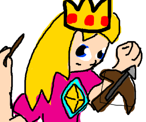 Princess Toadstool with a crossbow and wand