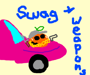 Peach with swag and weapons on pink car hood