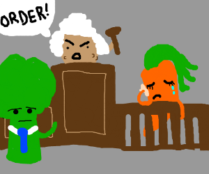 "Potato judge in court - funny wig ""ORDER!"""