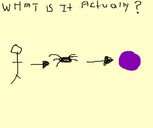 Person that is a spider that is purple