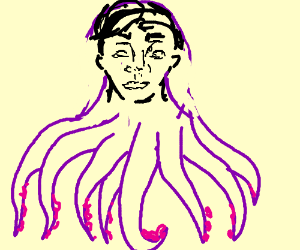 an octopus with a mans face.