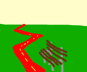 brown bench next to a red zigzag road.