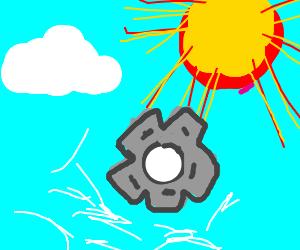 Large cogwheel launched swiftly towards sun