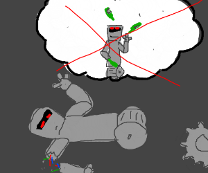 robot's dream of being a bottle juggler ruined