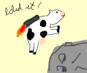 The cow finally jumped over the moon