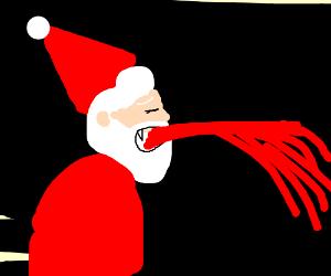 Vampire Santa vomits blood.