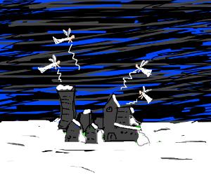 White fairies attack a snowed-in town