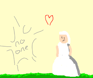 She got married to no one on a lawn