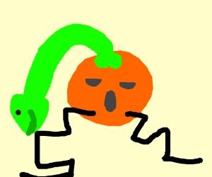 Crazy orange guy pleasured