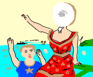 donut-headed woman and her sun wave bye 2 ship