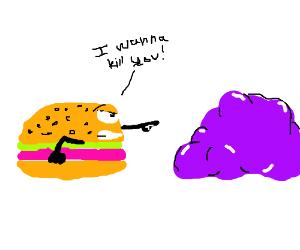 Burger wants to kill purple blob