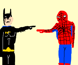 Batman & spiderman point fingers at each other