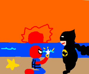 Spiderman proposes to Batman on the beach