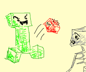 Creeper attacks skeleton with TNT