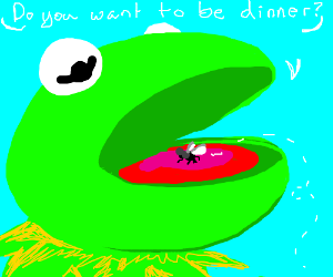 Kermit the Frog talks to fly landing in mouth