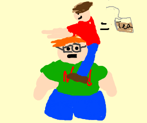 Fat nerd with getting tea bagged