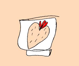 Napkin w/ print design of hairy, fleshy heart