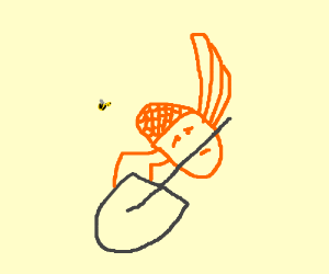 Sad winged honeycomb is stuck to a shovel