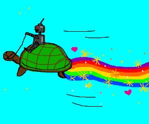 Small robot riding a flying turtle