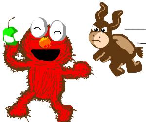 Elmo steals a Donkey's apple