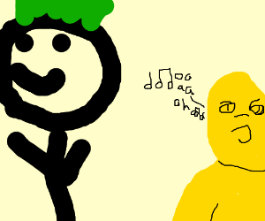 a green mohawk man and a yellow monkey singing