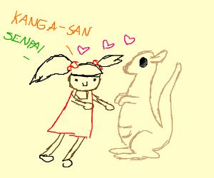 Girl is infatuated with an eyeless kangaroo