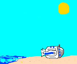 R2D2 tanning on the beach