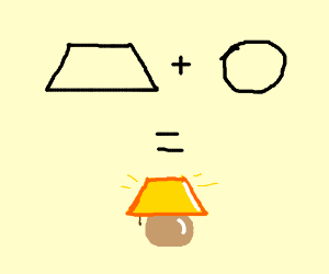 Trapezium and circle equals a lamp