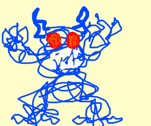 Blue scribble monster