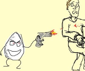 Egg man shoots an innocent bystander.