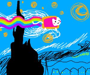 "Nyancat flies through ""Starry Night"""
