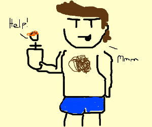 Hairy-chested man drinks ginger tea