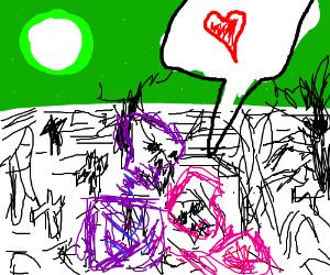 In creepy cemetery love will turn th sky green