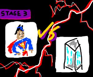 superman vs building... building wins