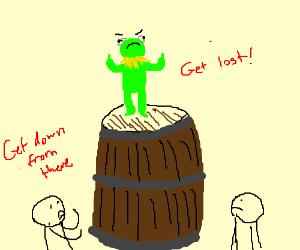 Kermit refuses to dismount barrel