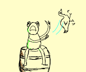 Kermit, on a barrel, flips the bird to people.