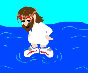 Little Jesus is proud of his new sneakers!