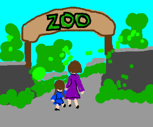 kid with mom goes to the zoo