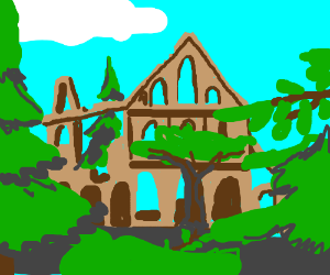 Abbey in an overgrown forest