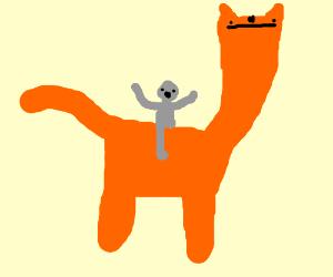 A man rides a giant cat