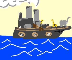 Noah 2.0, using a steamboat.