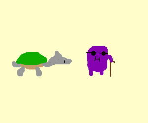 Dolphin turtle stares at blind old purple guy
