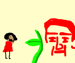 Girl is frightened by green plant and red face