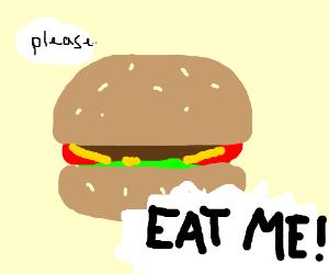 Hamburger begging to be eated