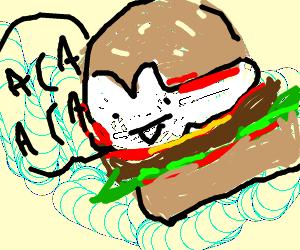 Acaburger sauce burger complete w/ other stuff