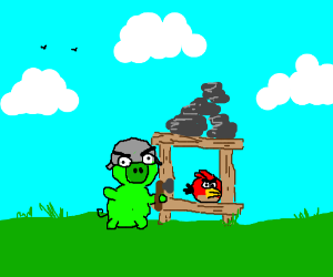 Pig constructs plans for new Angry Birds game.