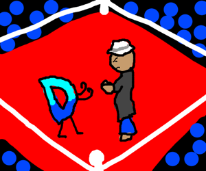 Drawception D fistfights man in a white fedora