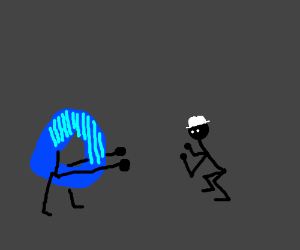 Drawception wants to fight man in hat