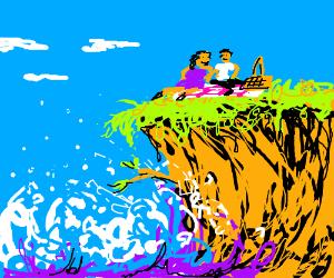 Cliff picnic with wild seas